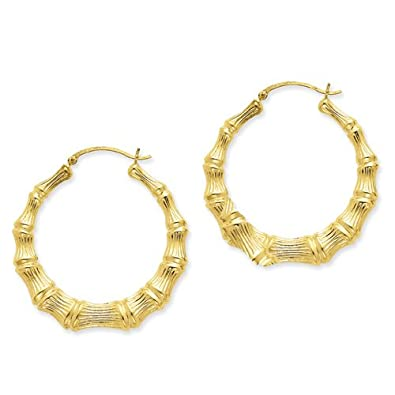 large bamboo Silver hoop earrings BFxM4S