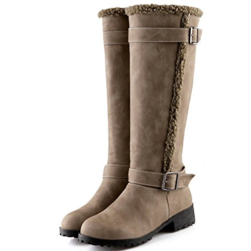 Half TAOFFEN Winter Khaki Shoes Snow 1424 Warm Women Western Boots Flat Yqqp4
