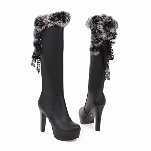 Carolbar Women's Sexy Chic Lace High Heel Platform Lace Knee High Boots Black URFOz