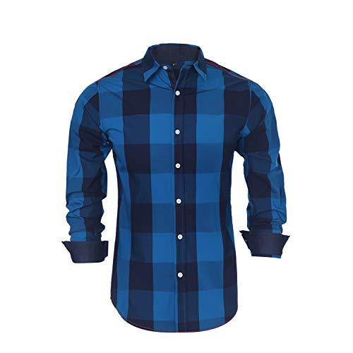 Buffalo Plaid Shirt Men Blue and Black Checker Lapel Button Down Long Sleeve (XX-Large, Green)