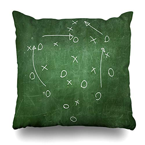 (Ahawoso Throw Pillow Cover Square 16x16 Board Football Soccer Strategy Drawn Playbook Play Chalkboard Room Locker Goal Pillowcase Home Decor Cushion Pillow Case)