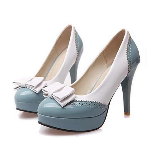 AmoonyFashion Womens PU Dichromatic Pull-on Round Closed Toe High-Heels Pumps-Shoes Blue vs77G