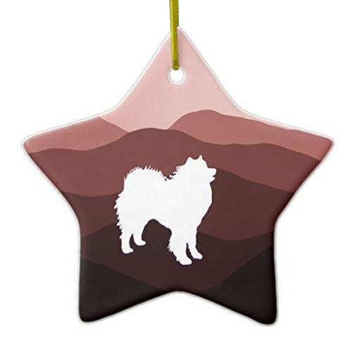 (Lionkin8 Christmas Ornaments Samoyed Star Holiday Tree Ornament Both Sides Star Ceramic Ornament Crafts 3 inch)