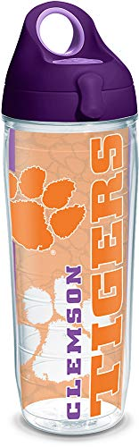 Tervis 1220293 Clemson Tigers College Pride Tumbler with Wrap and Purple Lid 24oz Water Bottle, Clear