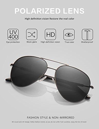 Men Women Sunglasses Aviator Polarized Driving by LUENX - UV 400 Protection Grey Lens Gun Metal Frame 60mm by LUENX (Image #1)