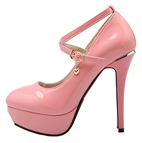 Missonly Women High Heels Stiletto Plateau Ankle Strap Patent Leather Pumps Court Shoes Pink ZZEYzztBA