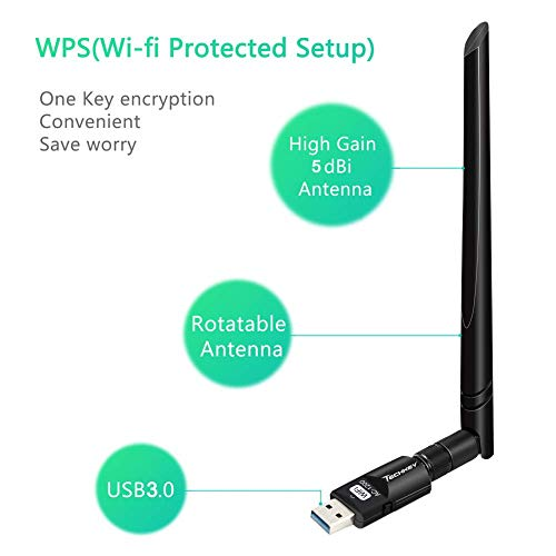 USB Wifi Adapter 1200Mbps TECHKEY USB 3.0 Wifi Dongle 802.11 ac Wireless Network Adapter with Dual Band 2.4GHz/300Mbps+5GHz/866Mbps 5dBi High Gain Antenna for Desktop Windows XP/Vista/7/8/10 Linux Mac