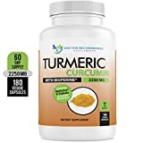 Turmeric Curcumin - 2250mg/d - 180 Veggie Caps - 95% Curcuminoids with Black Pepper Extract (Piperine) - 750mg Capsules - 100% Organic - Most Powerful Turmeric Supplement - with Triphala