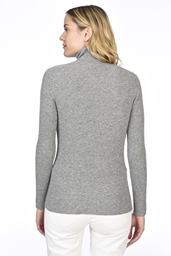 State Cashmere Women's 100% Pure Cashmere Long Sleeve Pullover Ribbed Turtleneck Sweater Heather Grey XL by State Cashmere (Image #3)