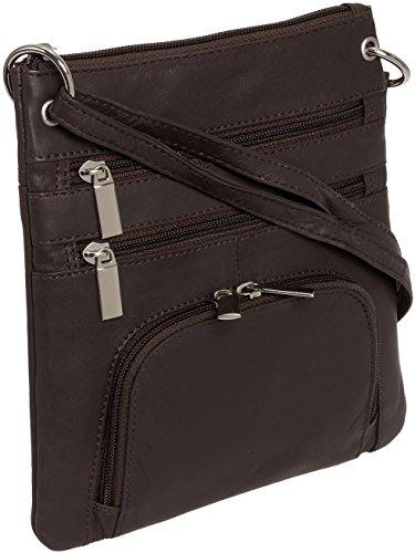 Silver Lilly Womens Genuine Leather Multi-Pocket Crossbody Purse Bag (Brown) (Cross Body Traveler)