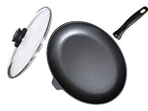 "Swiss Diamond Nonstick Oval Fish Pan with Lid- 10.25"" x 15"""