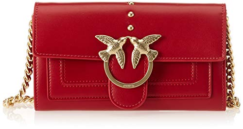 Seta Vitello Red Pinko Shoulder Aliboni Jolly With Clutch Women's Wallet Rosso 6xwR64q
