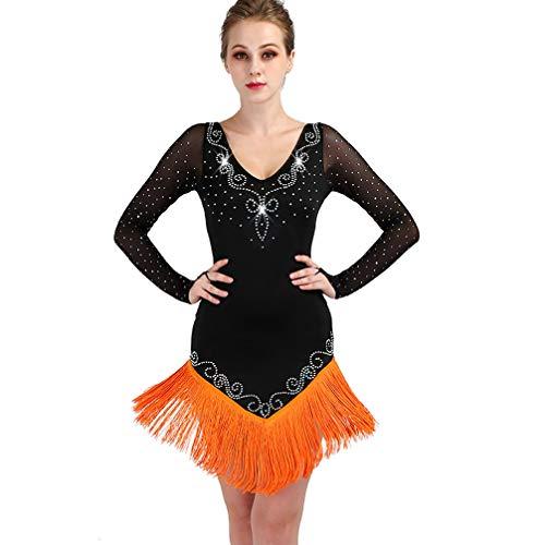Fringe Abiti Gonna Performance Wqwlf Altalena Abbigliamento Indietro Orange Con Tango Scollo Zumba Prospettiva Xxl A Lunghe Da Per Ballo xxl V Professionale Competizione Latina Maniche Donne aqwxq7d