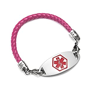 BAIYI Stainless Steel Leather Medical Alert Bracelet for Women Purple Size 6-8 inch (Free Engraving)