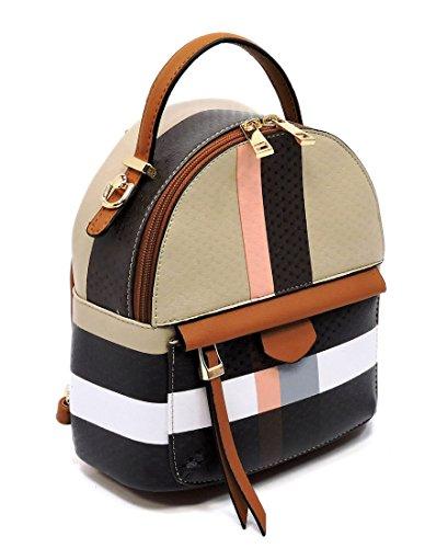 Tartan Plaid Check Womens Convertible Backpack Crossbody Satchel Handbag Purse (S-Tan Brown)