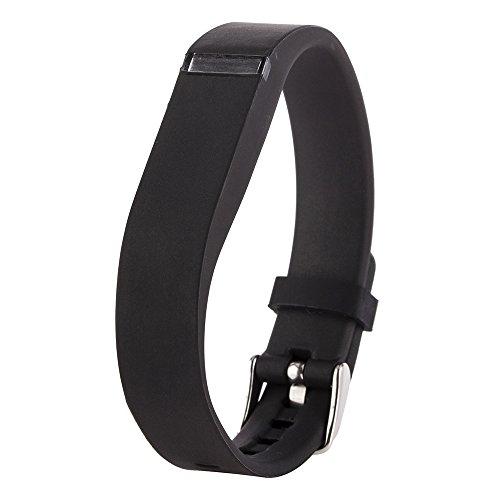 Greatfine Ersatzarmbänder mit Chrom Uhrschnalle, für Fitbit Flex Farbbänder, Zubehörband für alle Grössen (Schwarz)