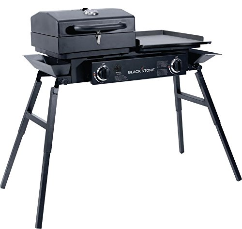 Blackstone Tailgater Portable Gas Grill and Griddle Combo With Barbecue Box and Open Burner Stove – Great for Hunting, Fishing, Camping and Tailgating