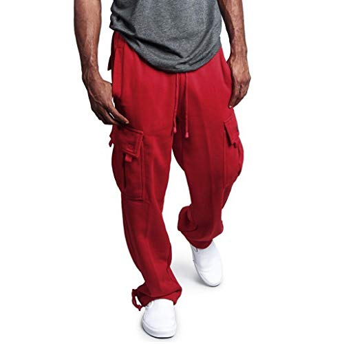(YOcheerful Men Sports Pants, Mens Solid Overalls Loose Fit Sweatpants Pocket Trousers Sport Casual Trouser Pants Red)