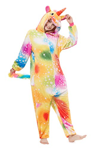 Yutown New Adult Animal Costume Onesie Unicorn Halloween Cosplay Pajama Zipper Rainbow Star Pegasus -