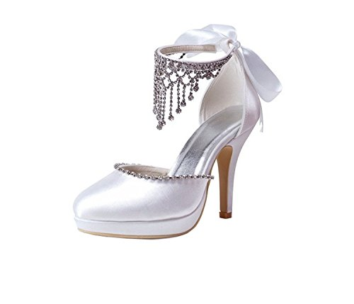 Minishion Heel Round Satin Wedding Heel GYMZ638 Ivory Toe strap Womens 10cm Stiletto Shoes Chain Bridal fxawfA