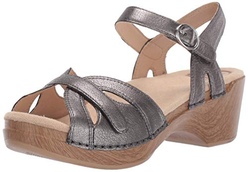 Dansko Women's Season Sandal, Graphite Nappa, 36 M EU (5.5-6 - 14' Shield