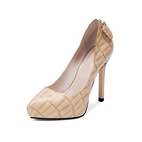 Zapatos para mujer CJC Zapatos de Cuero, Zapatos Finos de Tacón Alto, Inclinados, con Tacón de Aguja, Impermeables (Color : 2, Tamaño : EU38/UK5.5)