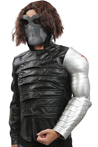 Bucky Barnes Costumes (Men's TWS Bucky Barnes Cosplay Costume Full Suit for Movie Size S Black)