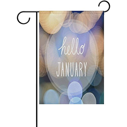 Starohou Hello January at Colorful Night Polyester Garden Flag House Banner 12 x 18 inch, Two Sided Welcome Yard Decoration Flag Wedding Party Home Decor