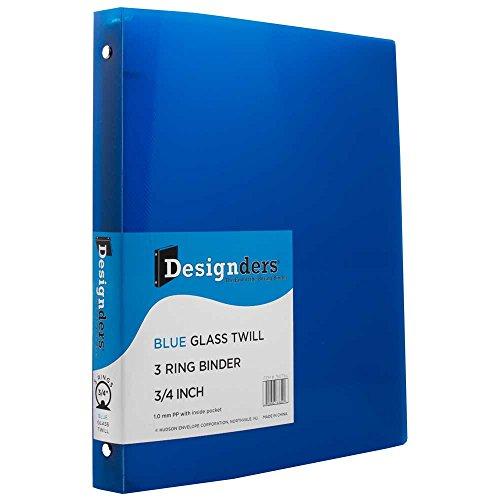 JAM Paper® Designders® - Plastic 3 Ring Binder - 3/4 Inch Width - Blue - Sold Individually
