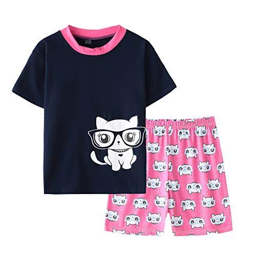 - MyFav Young Girls Pajama Cute Cat Pattern Nighty Comfy Shorts Cotton Sleepwear