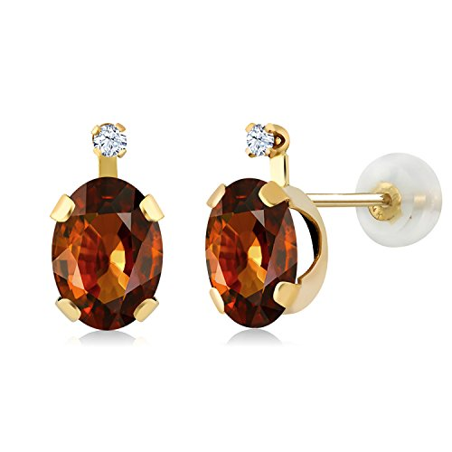 Gem Stone King 2.52 Ct Oval Brown Zircon White Created Sapphire 14K Yellow Gold Earrings