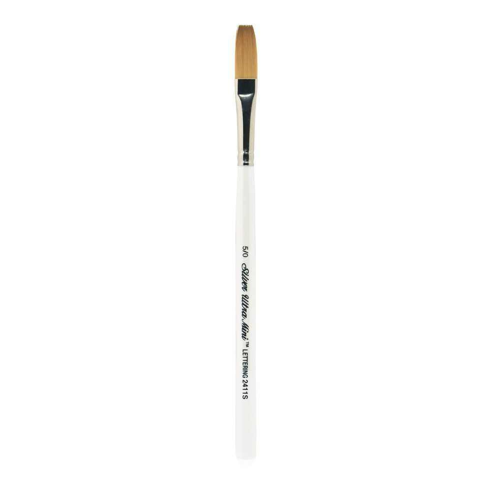 Silver Brush 2411S-5/0 Ultra Mini Short Handle Golden Taklon Brush, One Stroke, Size 5/0 by Silver Brush Limited