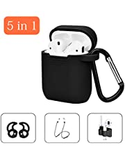 Airpods Case 5 in 1 Airpods Accessories Set, Portable & Protective Silicone Cover Skin Compatible Apple Airpods Anti-Lost Strap/Ear Hook/Watch Band Holder/Keychain/Earpods Case