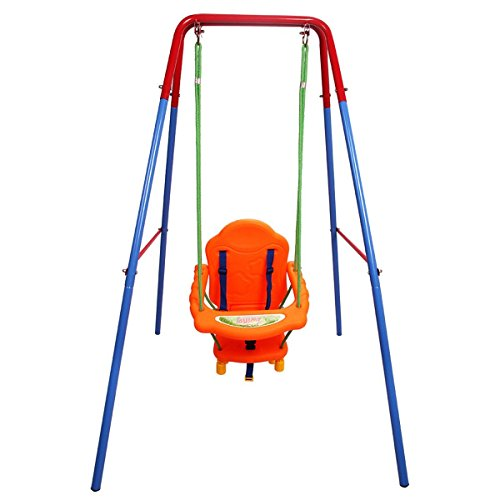 (Costzon Toddler Swing Set, High Back Seat with Safety Belt, A-Frame Outdoor Swing Chair, Metal Swing Set for Backyard (Orange))