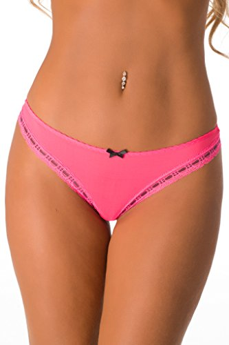 Neon Velvet - Velvet Kitten Sexy Happy Thoughts Thong 2826 (Medium, Neon Coral)