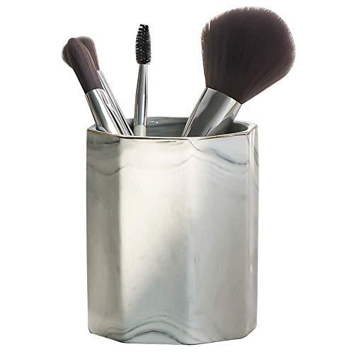 Marble Pen Holder Nordic Makeup Brush Bucket Desktop Pen Holder Cosmetic Storage Tube Desk Elegant Art Decoration