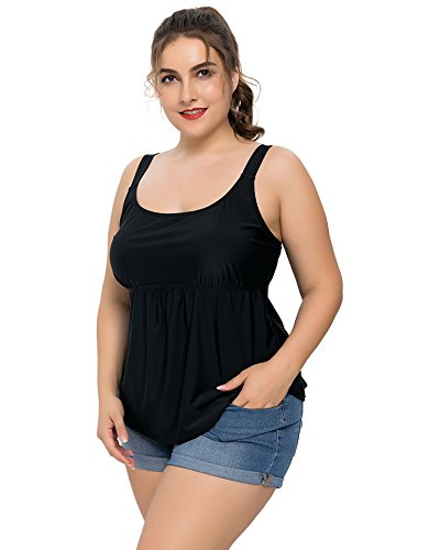 Anwell Womens's Loose Fit Black Solid Tankini Top Plus Size Swimsuit Shirt 18 by Anwell (Image #3)