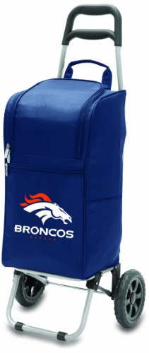 NFL Denver Broncos Insulated Cart Cooler with Wheeled Trolley, Navy Microfiber Two Pocket Tote