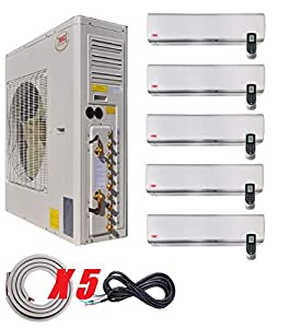 YMGI Five Zone - 63000 BTU Wall Mount Ductless Mini Split Air Conditioner with Heat Pump for Home, Office, Apartment with 25 Ft Lineset Installation Kits (9K+9k+9k+12k+24k)