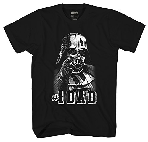 MightyFine Star Wars Darth Vader #1 Dad Father Men's Adult Graphic Tee T-Shirt (X-Large, Black)
