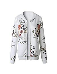 KpopBaby Womens Ladies Retro Floral Zipper Up Bomber Jacket Casual Coat Outwear WH/L
