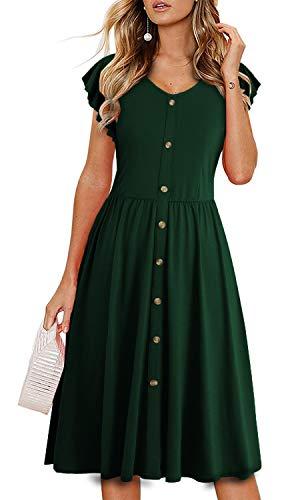 (Lamilus Women's Summer Casual Ruffle Sleeve V-Neck Button Down A-Line Swing Dress (XL,L026-Dark Green))