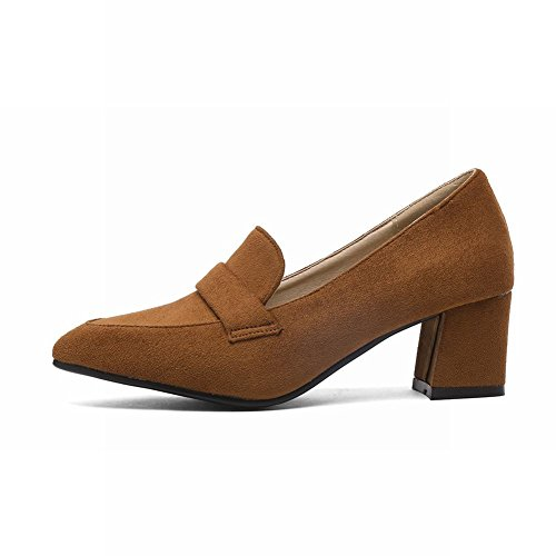 Carolbar Womens Pointed Toe Retro Office Lady Mid Heel Pumps Shoes Yellow-brown XRWj0j0L