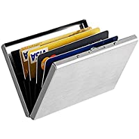 OFIXO RFID Credit Card Holder Protector Stainless Steel Credit Card Wallet Slim RFID Metal Credit Card Case for Women or Men (Silver)