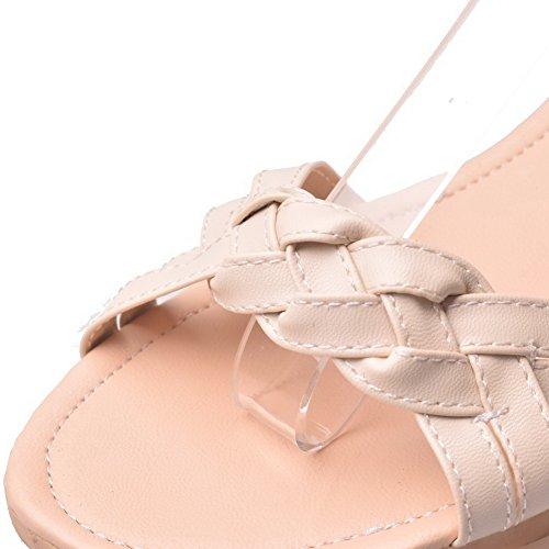 AalarDom Mujer Puntera Abierta Mini Tacón Pu Sólido Sandalias de vestir Beige-ZHI
