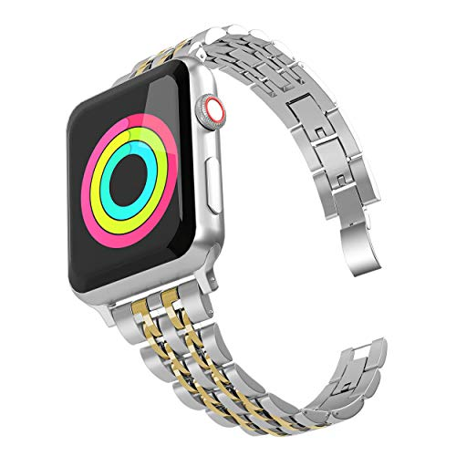 Aizilasa Band Compatible with Apple Watch 40mm Series 4, iWatch 38mm Series 3 2 1 for Women Men Stainless Steel Bracelet Adjustable Metal Strap Wristbands (Silver&Gold-38mm/40mm) (Toned Metal)