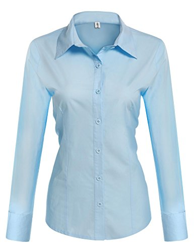 HOTOUCH Women Slim Fit Non Iron Solid Dress Shirt/ Light Blue/ M ()