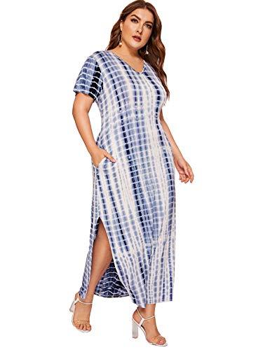 Romwe Women's Plus Size Tie Dye Split Maxi Dress with Pocket Blue 1XL