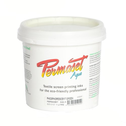 Permaset Aqua 1 Litre Fabric Printing Ink - Phosphorescent Green by OfficeMarket