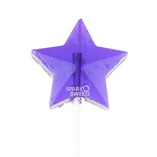 Purple Stars Lollipops, Handcrafted in USA, 24 Pieces, 1.5 lbs -
